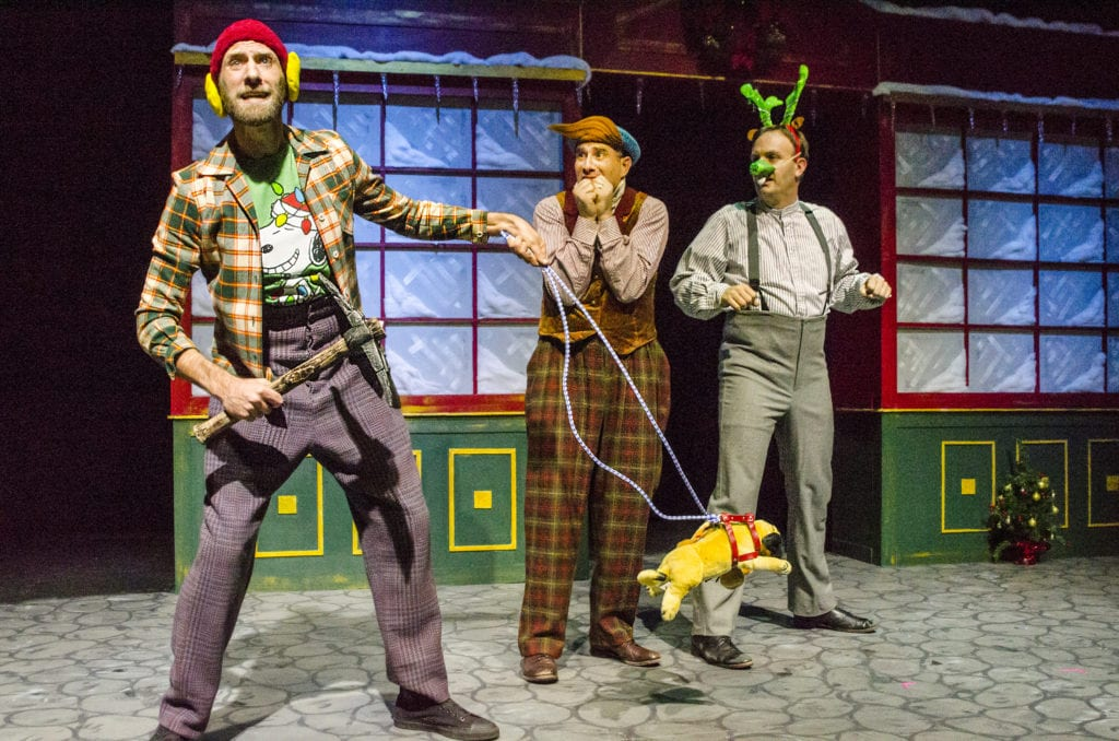 Jon Fortmiller, Justin Walvoord and Daniel Langhoff in Every Christmas Story Ever Told. Photo by Michael Ensminger.